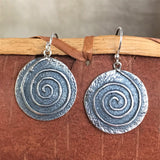 Steve LaRance, Hopi Dangle Tufa Cast  Silver Earrings with Spiral Migration Design SR2