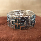 Steve LaRance, Hopi Tufa Cast  Silver Band Ring with Four Directions Design 0/147