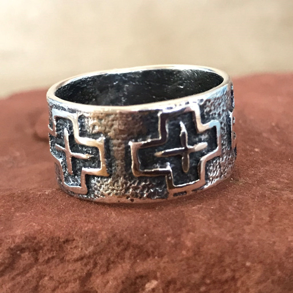 Steve LaRance, Hopi Tufa Cast  Silver Band Ring with Four Directions Design SR3