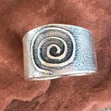 Steve LaRance, Hopi Tufa Cast  Silver Band Ring with Spiral Migration Design 0/148