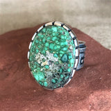 Steve LaRance, Hopi Tufa Cast  Silver Band Ring with Turquoise and Water Design Band  0/149
