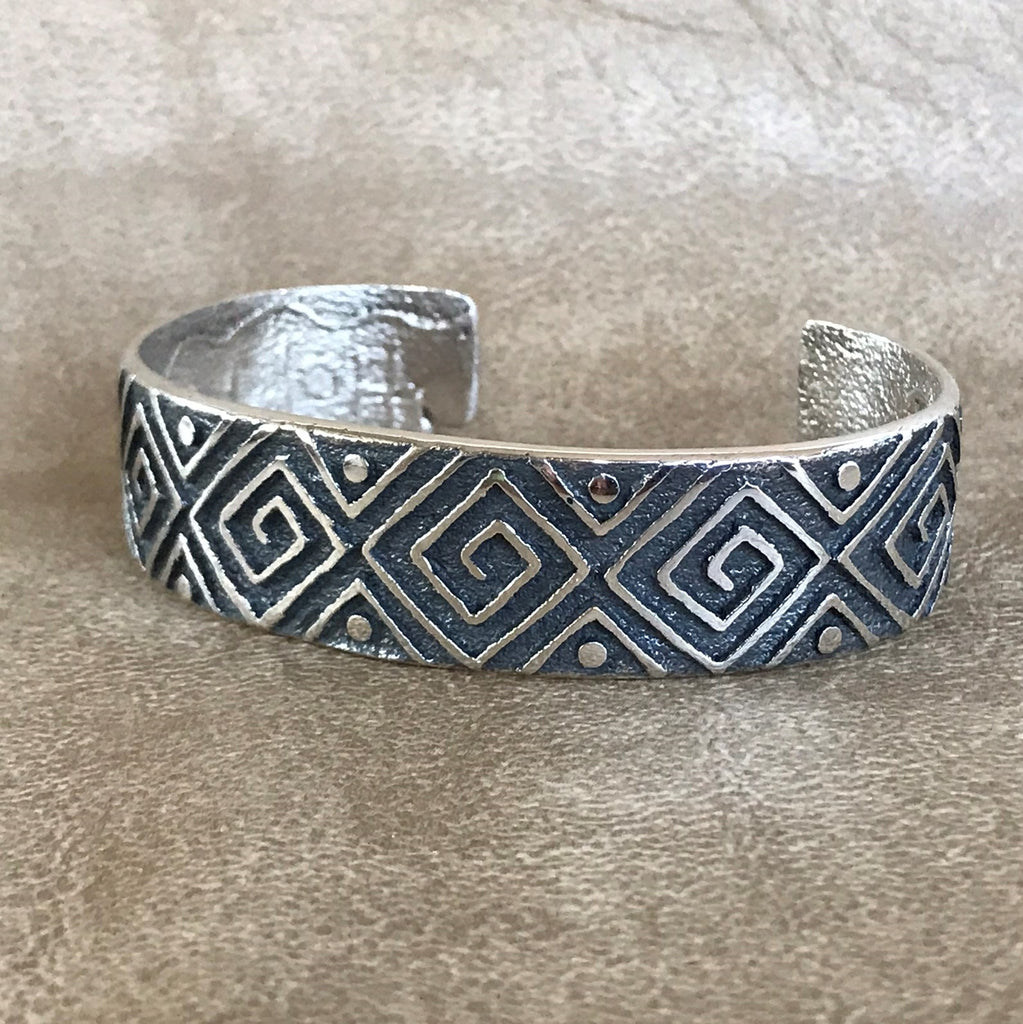 Steve LaRance, Hopi Tufa Cast  Silver Cuff Bracelet with Water & Corn Seeds Design SR7