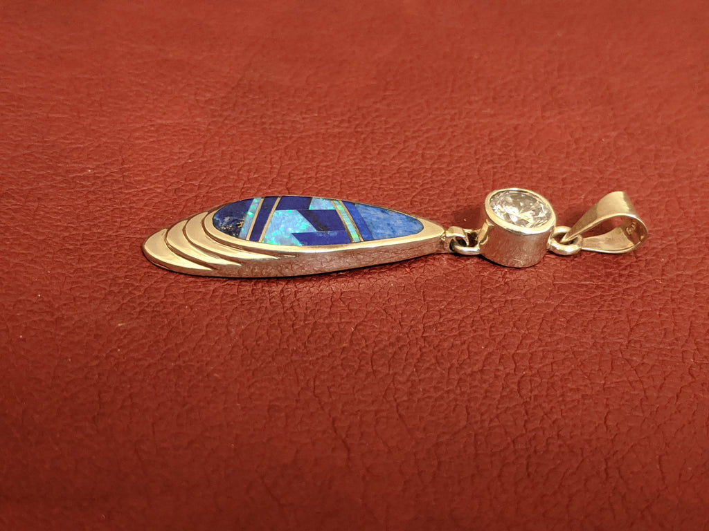 Blue & Denim Lapis and Cultured Opal Pendant with Cubic Zirconia Pendant by David Rosales