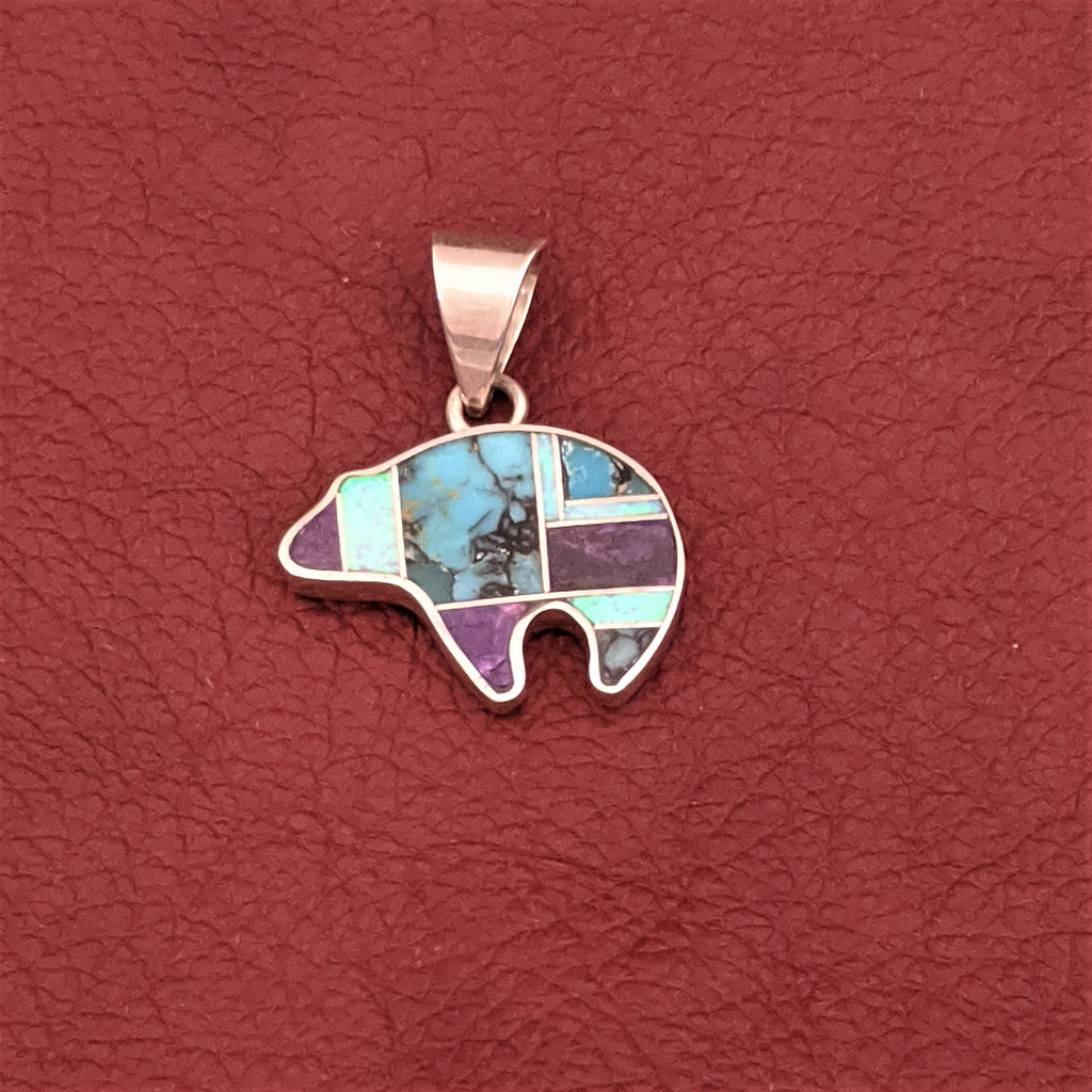 Bear Pendant with Sugalite, Campitos Turquoise, and Cultured Opal by Designer David Rosales