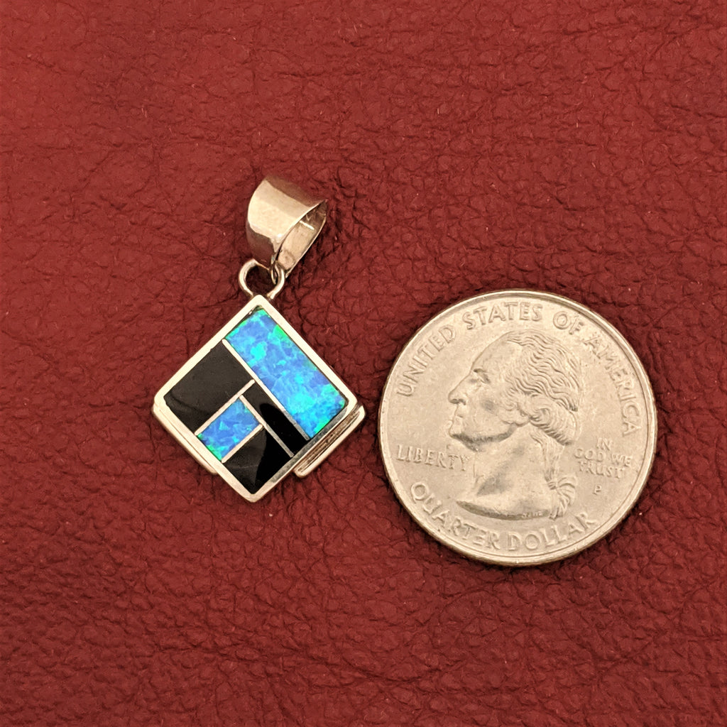 Diamond Pendant with Black Jade and Blue Cultured Opal, designed by David Rosales