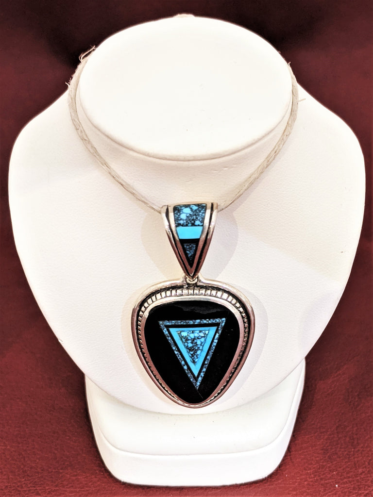 Turquoise Pendant with Black Jade, Ithaca Peak Turquoise, and Kingman Turquoise by Designer David Rosales