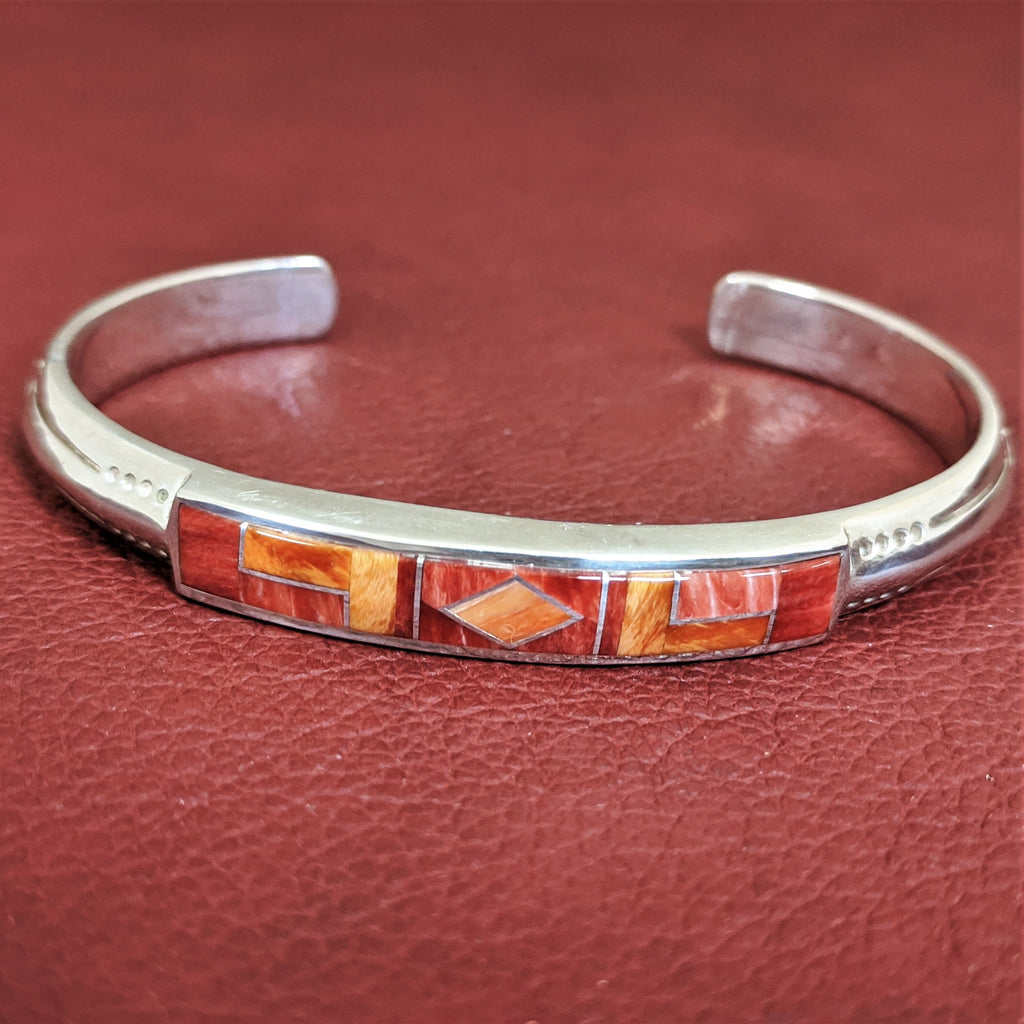 Orange& Red Spiny Oyster Shell Bracelet by Designer David Rosales