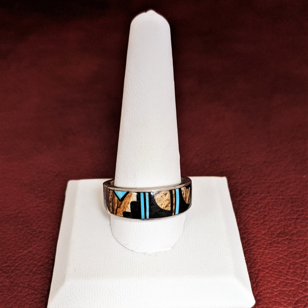 Turquoise Ring with Black Jade, Picture Jasper, and Kingman Turquoise by Designer David Rosales
