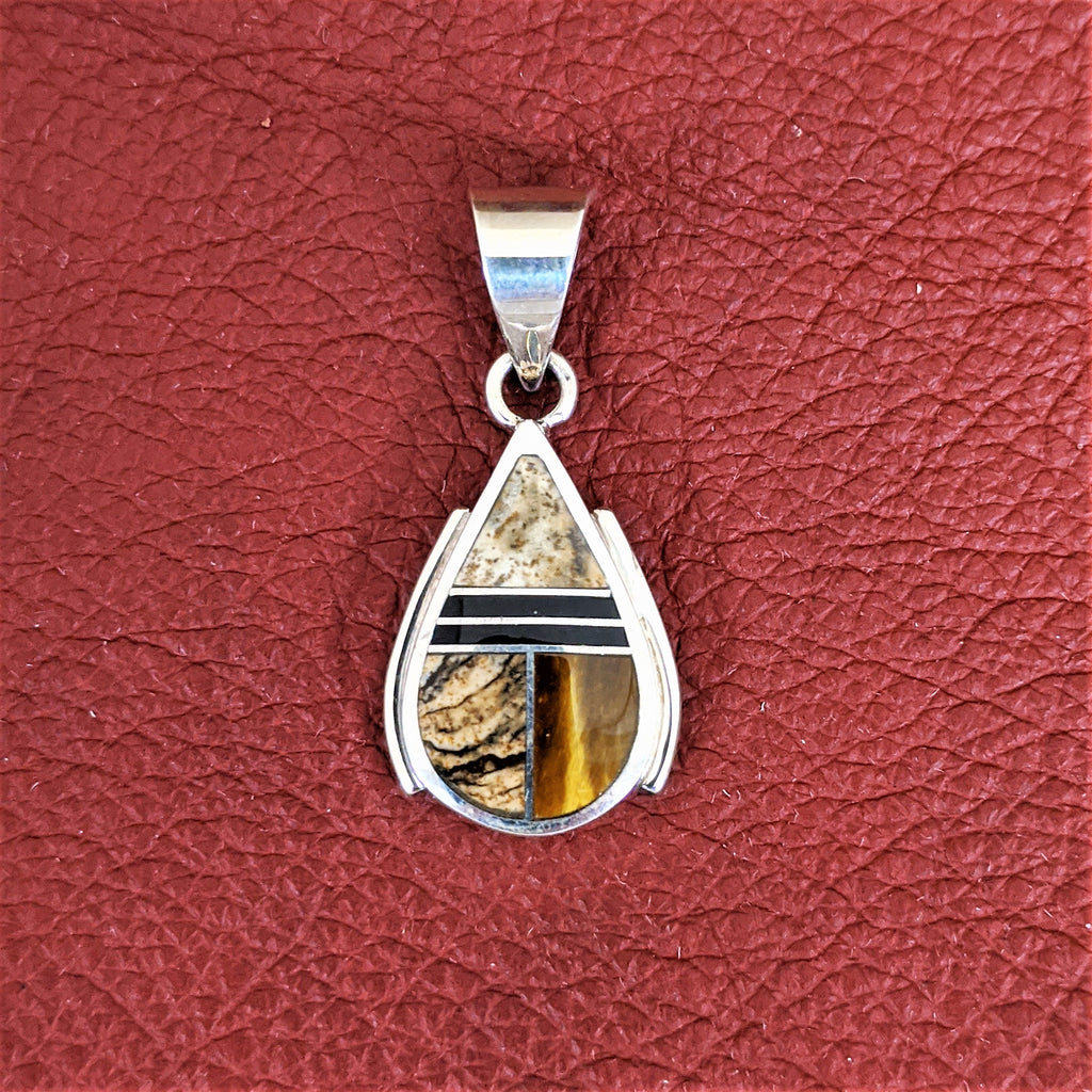 Teardrop Pendant with Tiger Eye, Picture Jasper, and Black Jet by Designer David Rosales