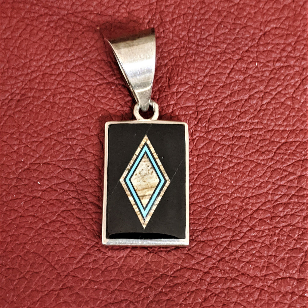 Double-Sided Pendant with Blake Jade, Picture Jasper, and Kingman Turquoise by Designer David Rosales