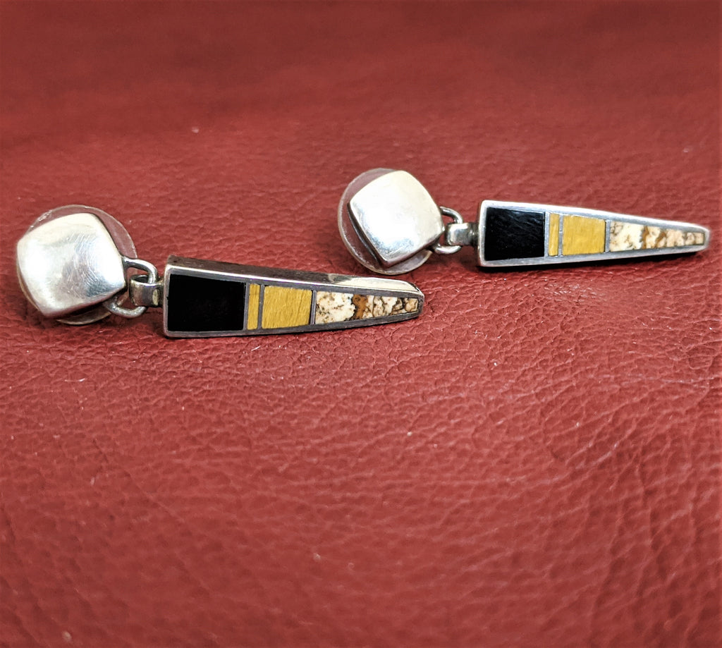 Dangle Earrings with Black Jet, Tiger Eye, and Picture Jasper by Designer David Rosales