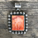 Navajo Pendant with Orange Spiny Oyster Shell and Silver Flowers  KD350