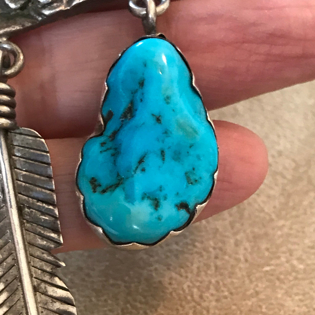 End of the Trail design pendant with feather and Morenci Turquoise  KD354