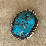 Vintage Navajo Blue Turquoise Pendant with Twist Rope, Hand Carving and Rain Drops  KD271