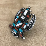 Roy Davis, Zuni Celebration Man Multi Stone Inlay Ring  KD371