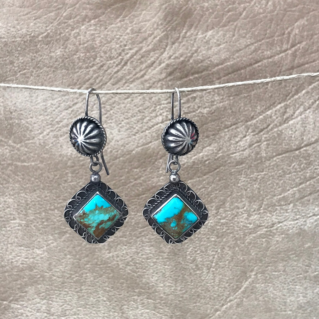 Navajo Earring with Concho and Blue Green Turquoise Square Dangle KD402