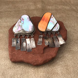 Santo Domingo (Kewa Pueblo) Abalone Shell and Spiny Oyster Earrings  KD386