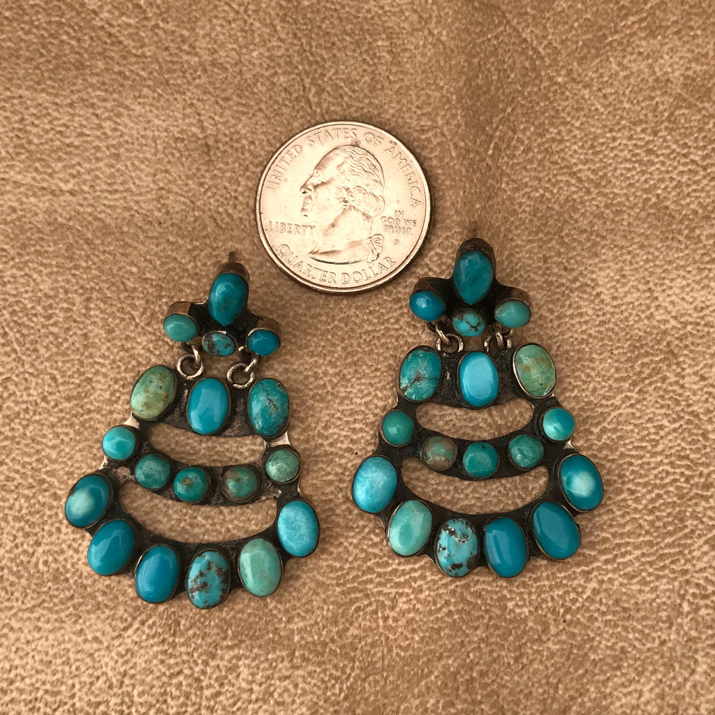 Turquoise Chandelier Navajo Post Earrings Circa 1990's  KD321