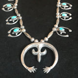 Vintage Navajo Sand Cast Squash Blossom Necklace with Green Turquoise and Handmade Beads  KD88