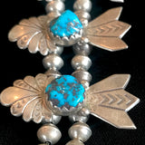 Vintage Navajo Squash Blossom Necklace with Blue Morenci Turquoise  KD78
