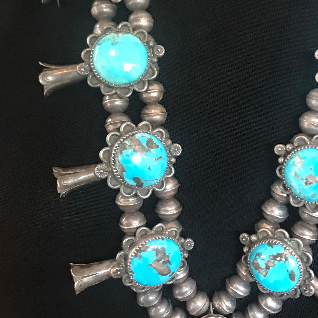 Antique Navajo Squash Blossom Necklace with Blue/Green Turquoise  KD94