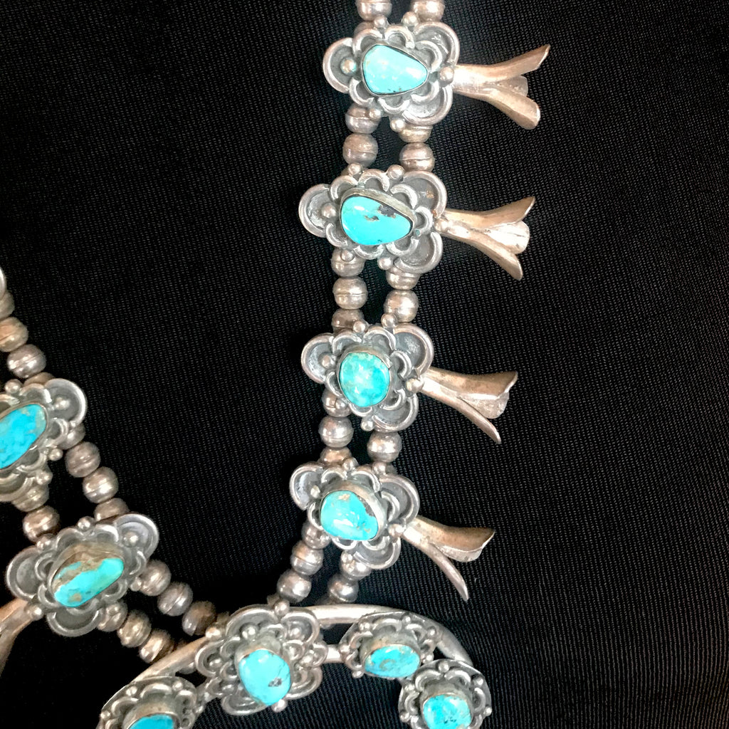 Vintage Navajo Turquoise Squash Blossom Necklace with Flower Design  KD416