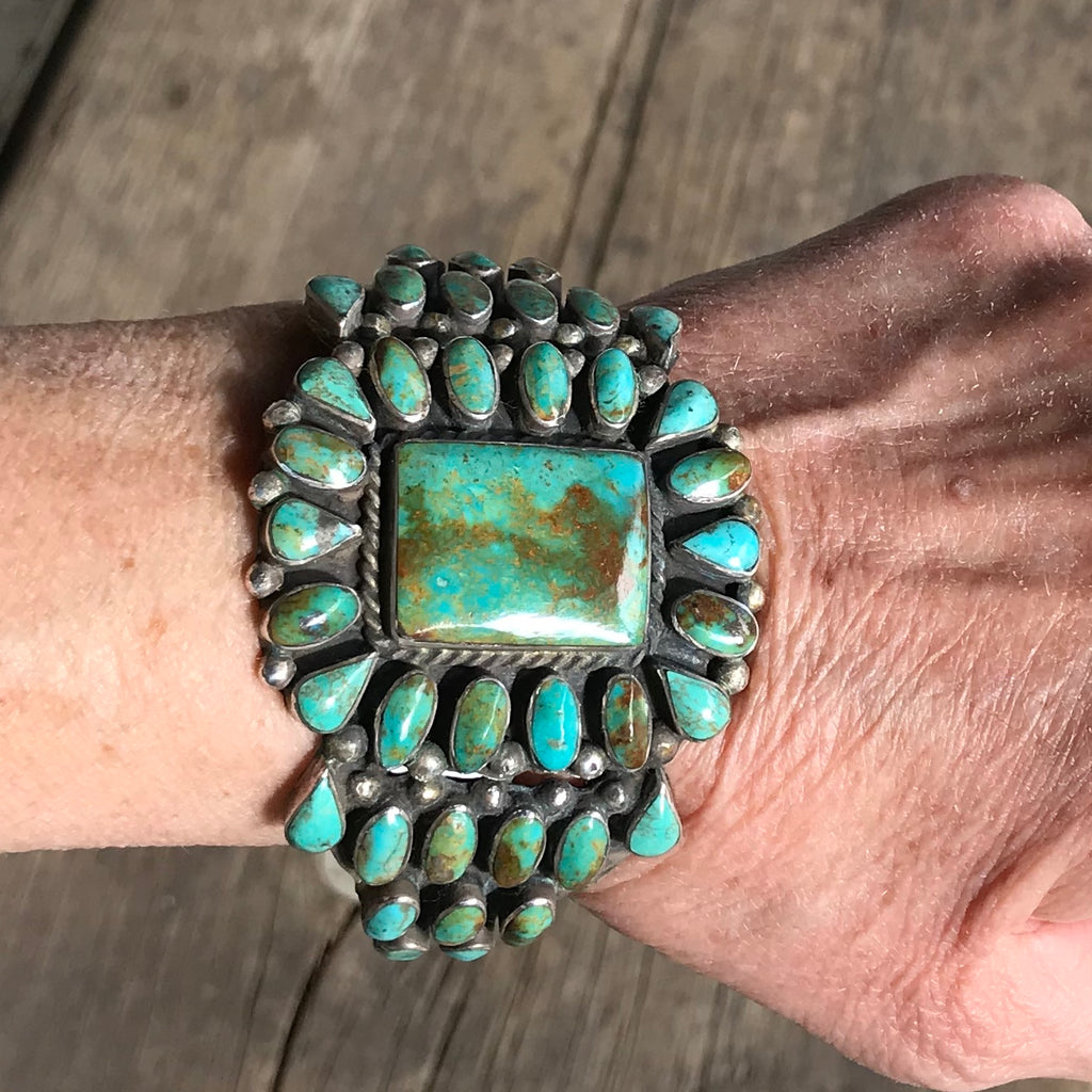 Vintage Navajo Green Royston Turquoise Cluster Cuff with Square Center Stone, KD41