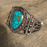 Vintage Navajo Bracelet with Blue Kingman Turquoise - signed KD100