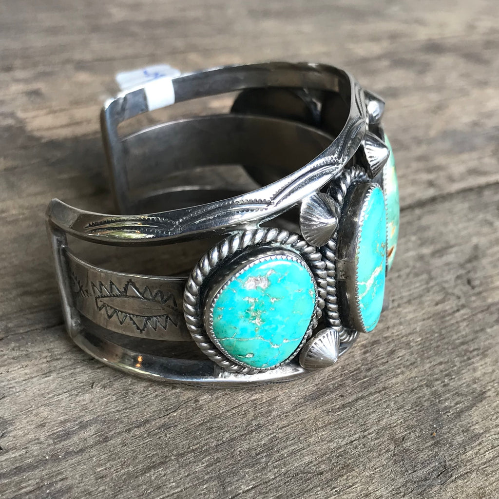 "Vintage Navajo Cuff with 5 Green Turquoise Stones, Signed ""MP,"" KD45"