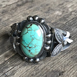 Navajo Oval Turquoise Stone Cuff with Silver Work, Vintage, KD50