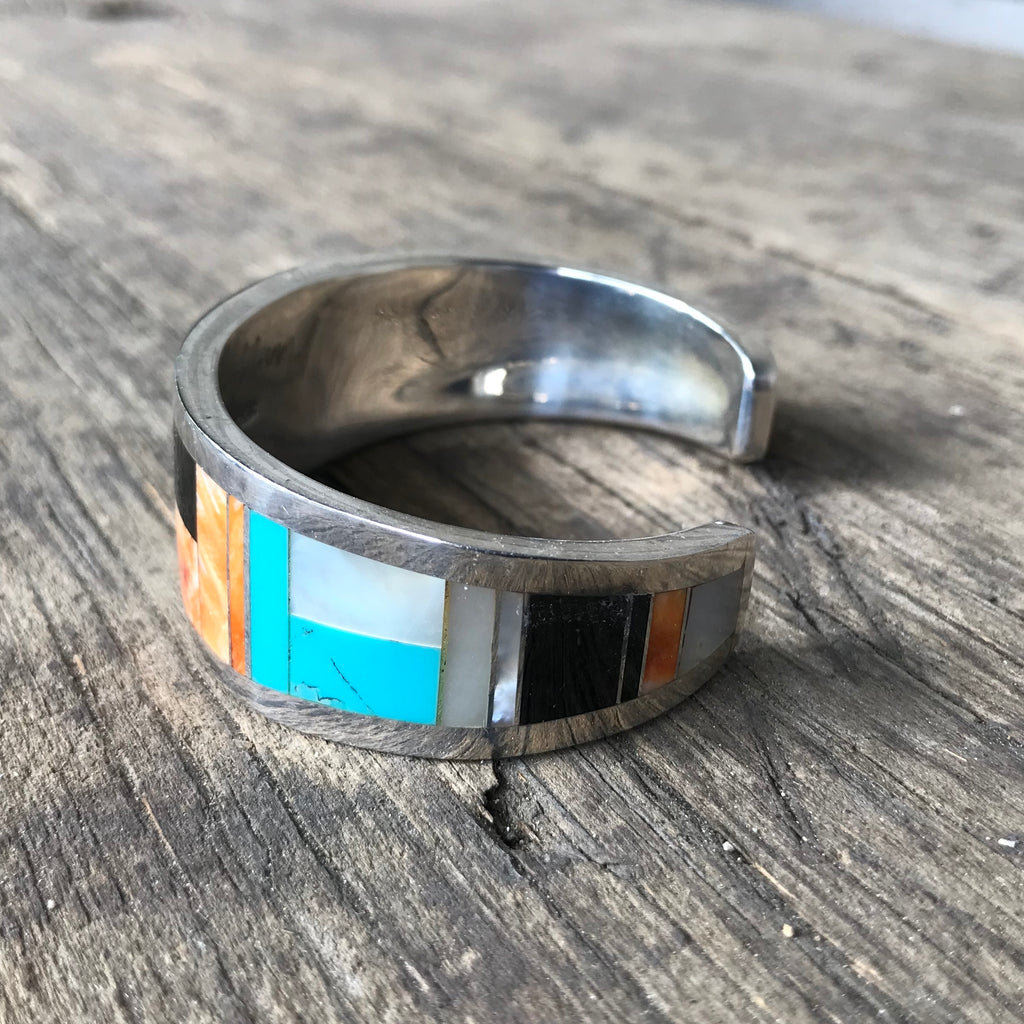 Multi-Stone Inlay Cuff for Men or Women by Stanley Manygoats, Navajo KD158
