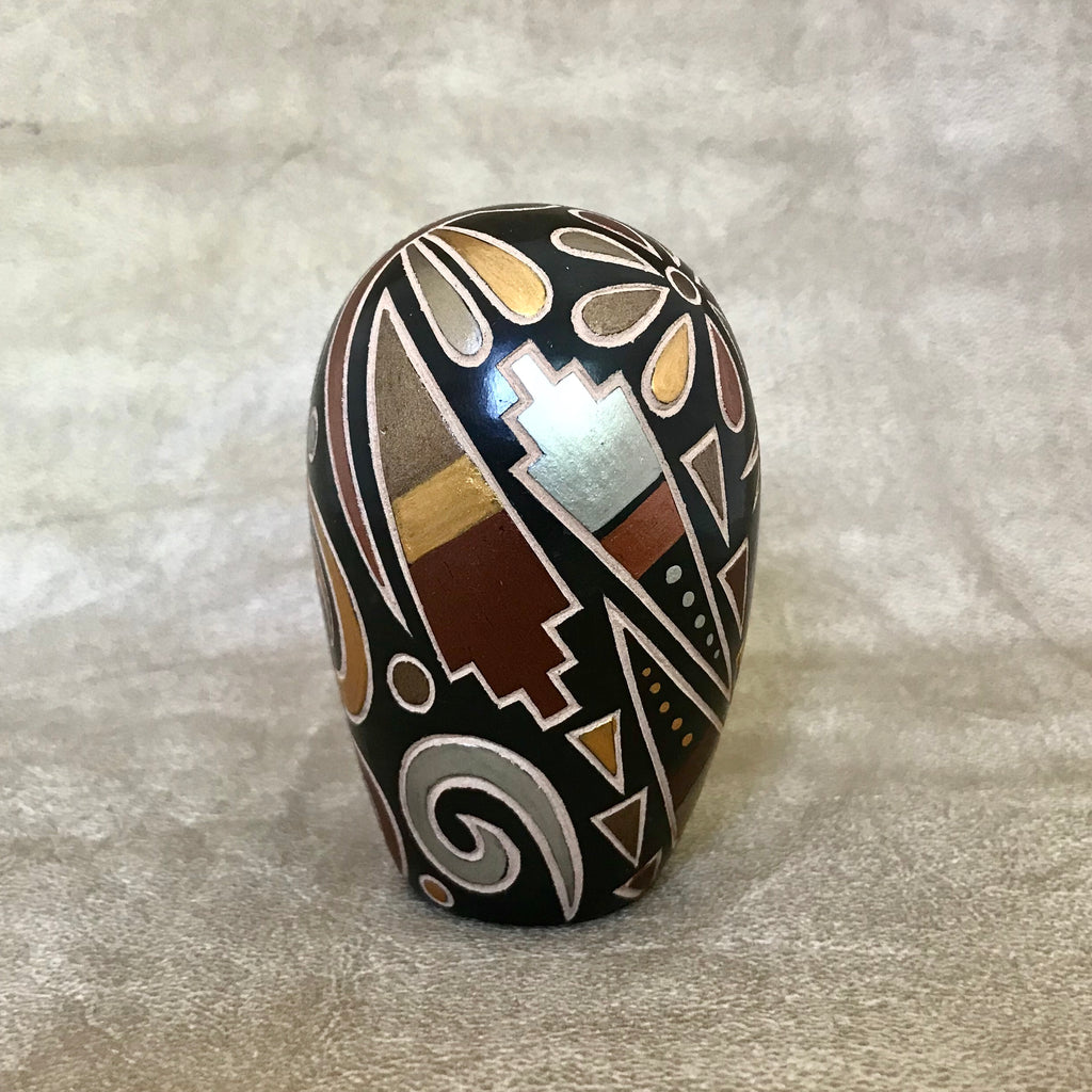 Glendora Fragua, Jemez Pueblo Handmade Etched or Sgraffito Pot with Dragonfly & Migration Swirls