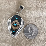 Navajo Inlay Pendant by David Rosales of the Supersmith Collection - Black Jade, Picture Jasper and Turquoise