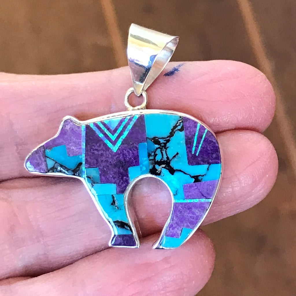 Navajo reversible Bear Pendant with Campitos Turquoise, Sugalite and Cultured Opal by Supersmith 0/57