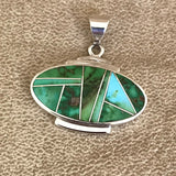 Sonoran Turquoise Inlay Navajo Pendant by David Rosales of Supersmith  0/58