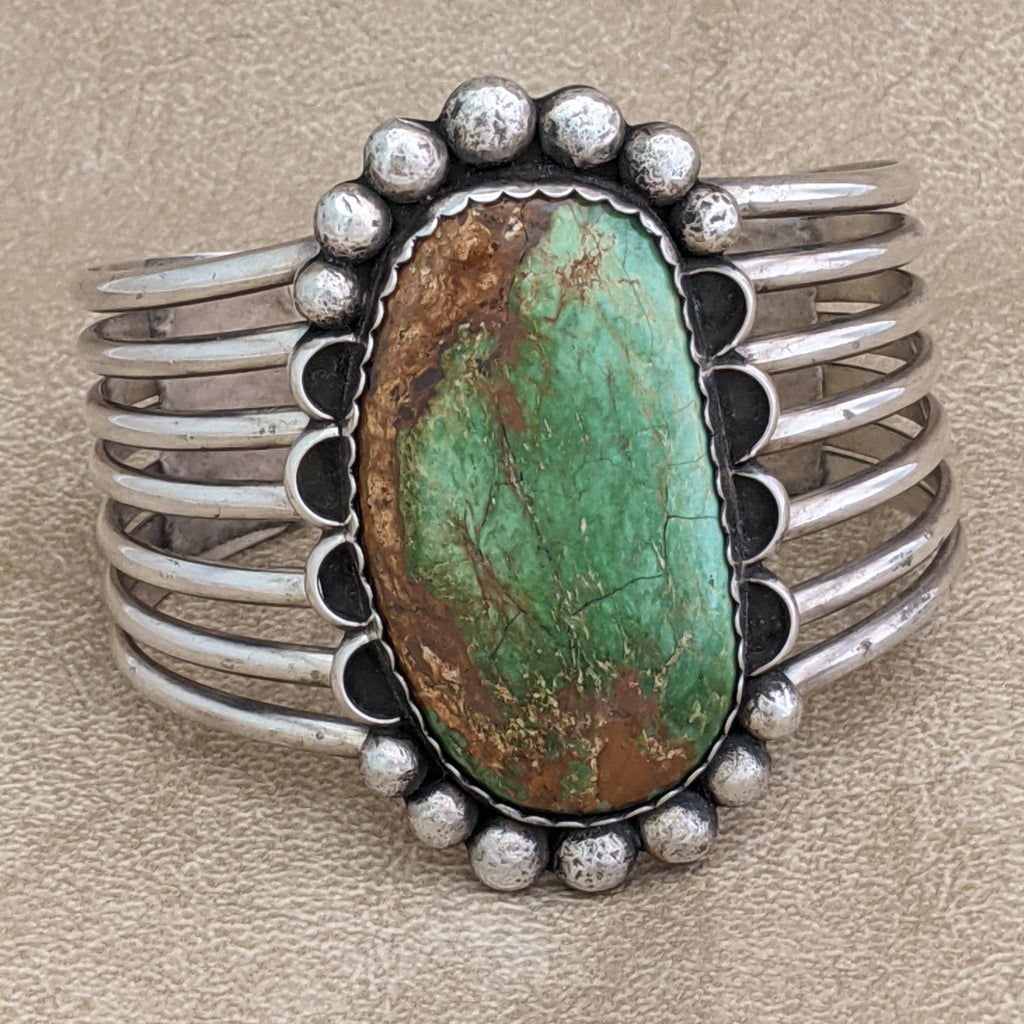 "Vintage Navajo Green Royston Turquoise Cuff, Signed ""M,""   KD40"