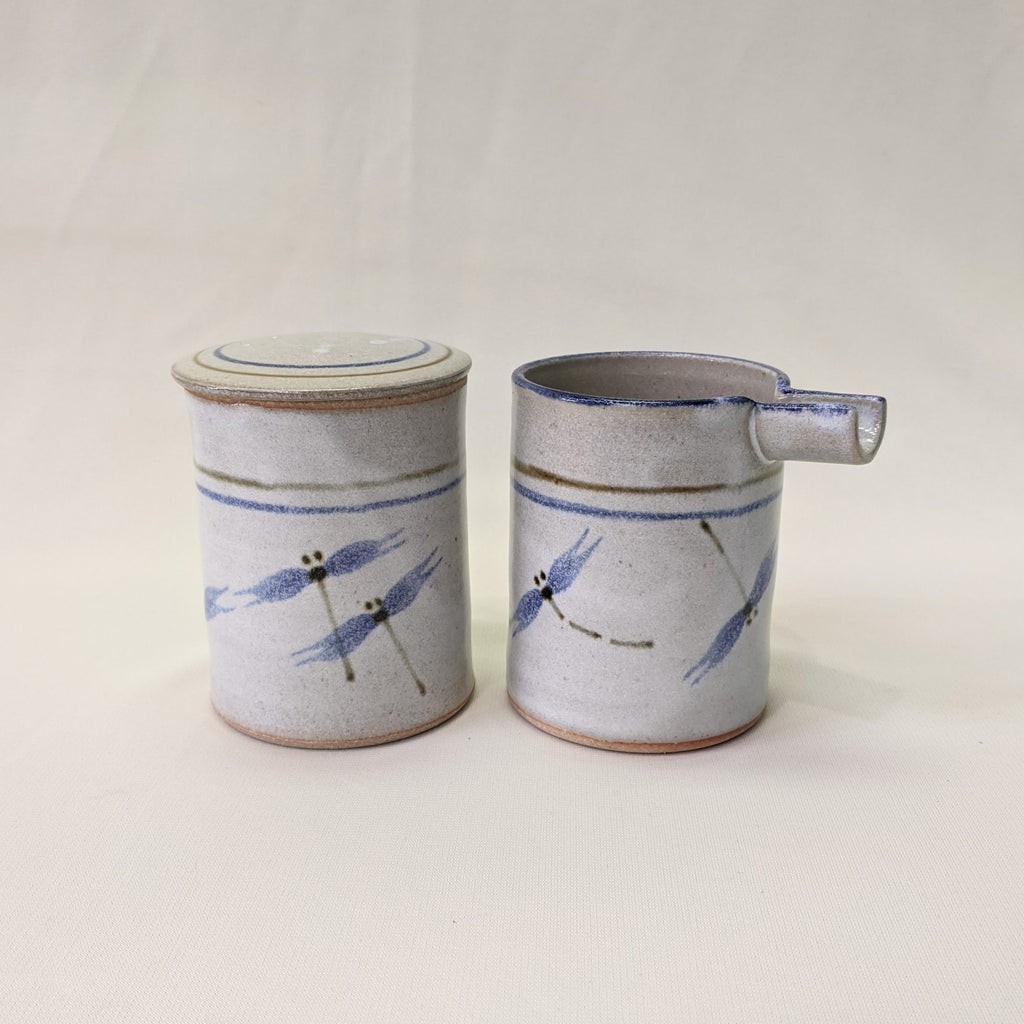 Native Cream and Sugar Set with Dragonfly Design by Cherokee Artist Mel Cornshucker 0/155