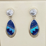 Drop Earrings with Blue & Denim Lapis and Cultured Opal with Cubic Zirconia by David Rosales 9/174