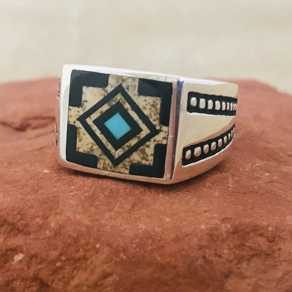 Navajo Inlay Ring by David Rosales of the Supersmith Collection - Black Jade, Picture Jasper and Turquoise 0/141