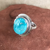 Navajo White Water Turquoise Ring- Genuine Native American  1/57