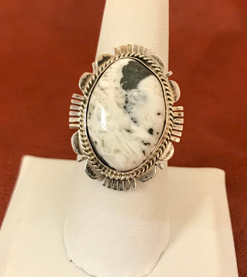 Genuine Navajo Sterling Silver Ring with White Buffalo Turquoise