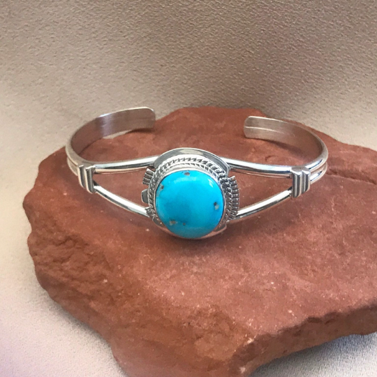 Navajo Blue Bird Turquoise Cuff Bracelet by Larson L. Lee- Genuine Native American  1/49