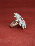 Native American Zuni Sunface Ring With Mother Of Pearl, Turquoise, & Coral By Verdel Niiha