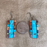 Mary Louise Tafoya, Kewa (Santo Domingo) Pueblo Multi Stone Mosaic Earrings on Turquoise 0/174