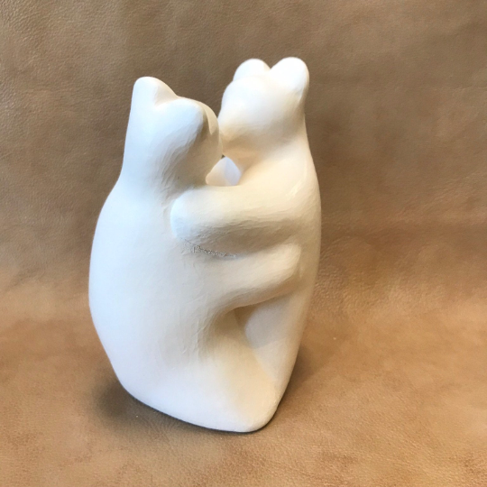 Kissing Bears Native American Clay Pottery by D. Andrew Rodriguez, Laguna Pueblo 1/96