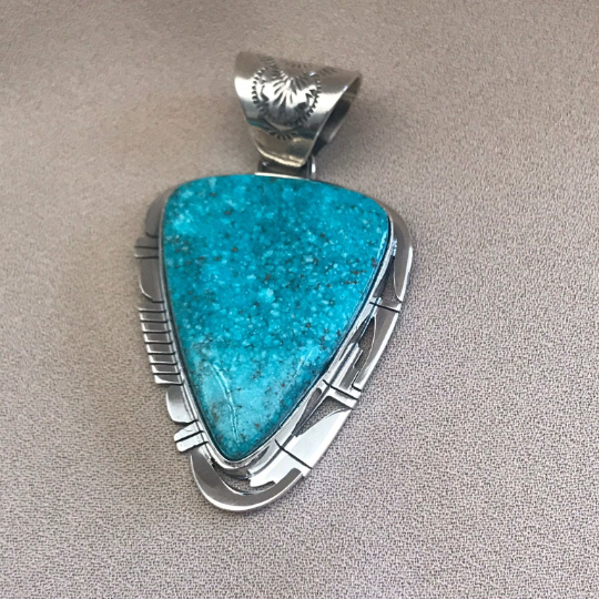Large Navajo Kingman Turquoise Pendant by Phil Sanchez- Genuine Native American  1/47