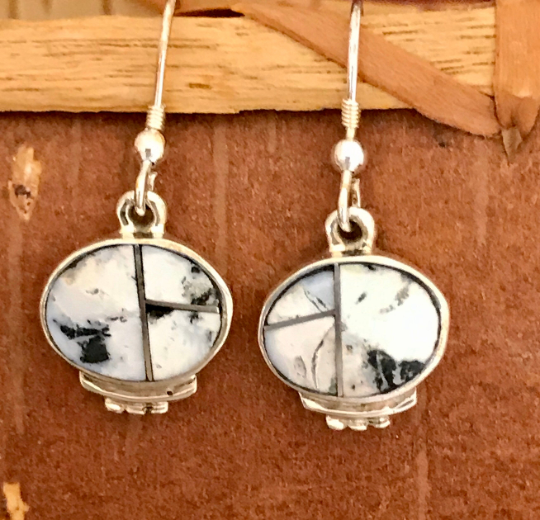 Genuine Navajo Sterling Silver Dangle Earring with White Buffalo Turquoise by David Rosales and Supersmith