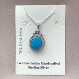 "Navajo Blue Bird Turquoise Pendant on 18"" Chain - Genuine Native American 1/40"