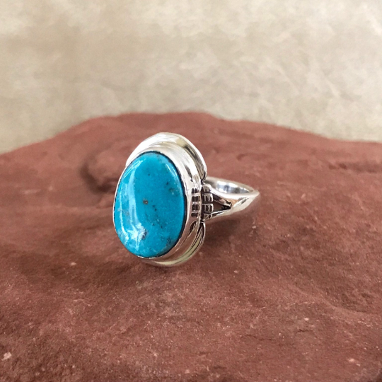 Navajo Kingman Turquoise Ring- Genuine Native American  1/58