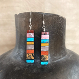 Mary Louise Tafoya, Kewa (Santo Domingo) Pueblo Multi Stone Mosaic Earrings on Turquoise 0/180